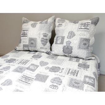 couvre lit boutis matelass 220x240 cm nadia gris avec 2 taies doreiller achat prix fnac - Couvre Lit Boutis
