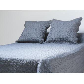 Couvre lit Boutis uni Gris 240x260 cm avec 2 taies d'oreiller