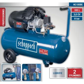 scheppach compresseur 2 cylindres 100l 8 bar 3cv 2200w hc100dc compresseur d 39 air achat. Black Bedroom Furniture Sets. Home Design Ideas