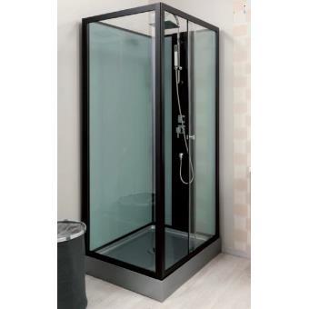Aqua  - Cabine de douche rectangle transparent accès de face porte ...