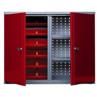 Kupper - Armoire murale 2 portes 2 étagères et 18 boites de rangement - Rouge - Rangement de l ...