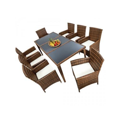 Salon de jardin 8 chaises rotin résine tressé synthétique marron coussins housses helloshop26 2108006