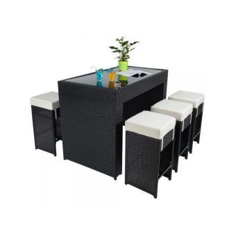 Table Haute Salon De Jardin Rotin Resine Tresse Synthetique 6