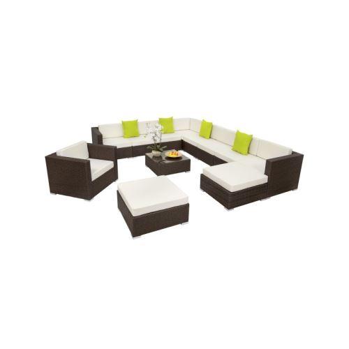 Salon de jardin rotin résine tressé synthétique marron 12 pièces helloshop26 2108042