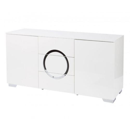 Buffet 2 portes 3 tiroirs en bois laqué blanc et pieds chromés ALEXANDRE