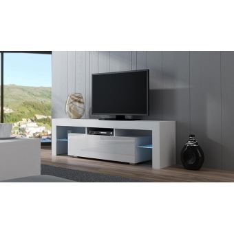 Meuble TV SPIDER à LED en Blanc MAT avec porte Blanc Laqué 160 cm ...