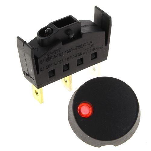 Interrupteur 3 cosses noir voyant rouge pour Cafetiere Moulinex
