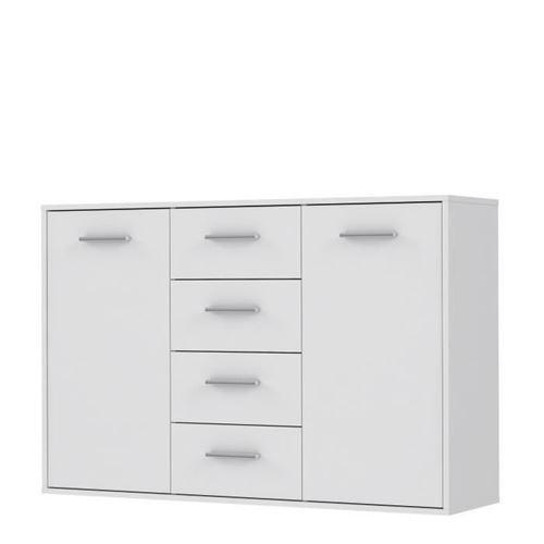 PILVI Buffet bas 2 portes 4 tiroirs - Blanc mat - L 122,6 x P 34,2 H 88,1 cm