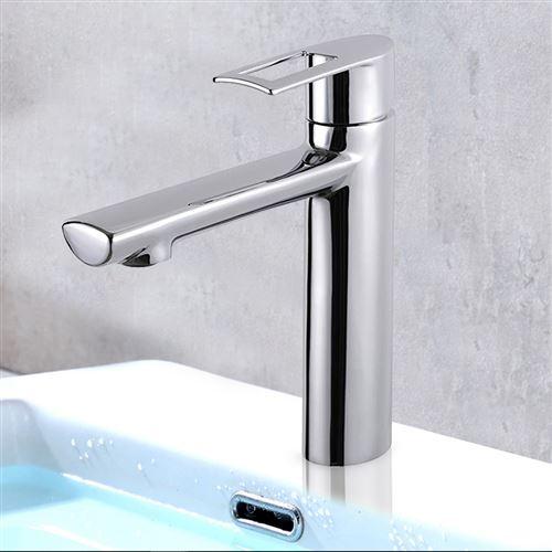 Robinet mitigeur de lavabo laiton chrome système eco stop economie d'eau