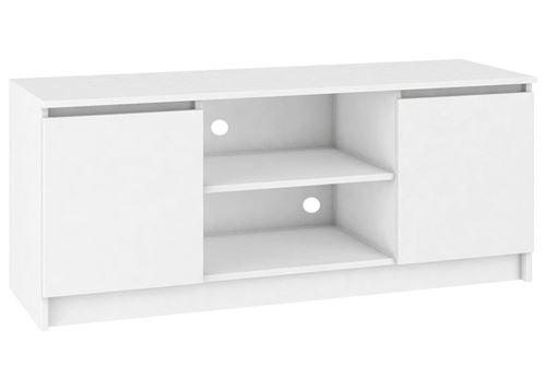 DUSK - Meuble bas TV contemporain salon/séjour 140x55x40 cm - 2 Blanc