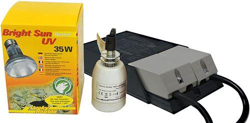 Lucky Reptile – Bright Sun UV Desert Lampe chauffante aux halogénures métalliques avec culot et Ballast compatibles, kit Complet