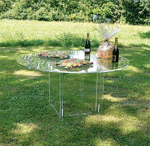 Table démontable transparente