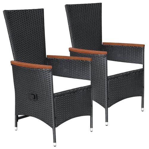 Chaises d'extérieur 2 pcs avec coussins Noir