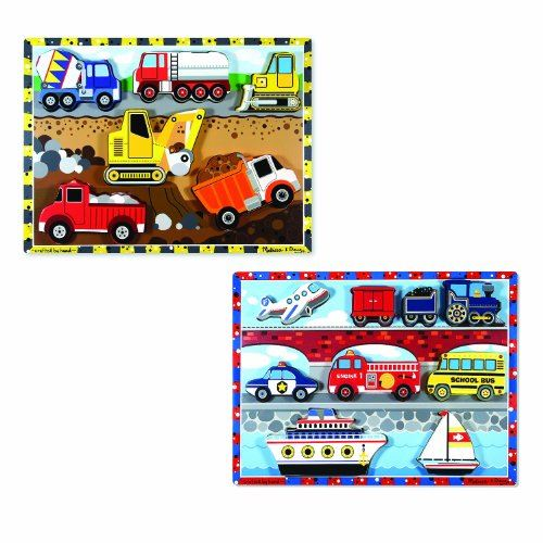 Melissa Doug Wooden Chunky Puzzles Set - Vehicles and Construction