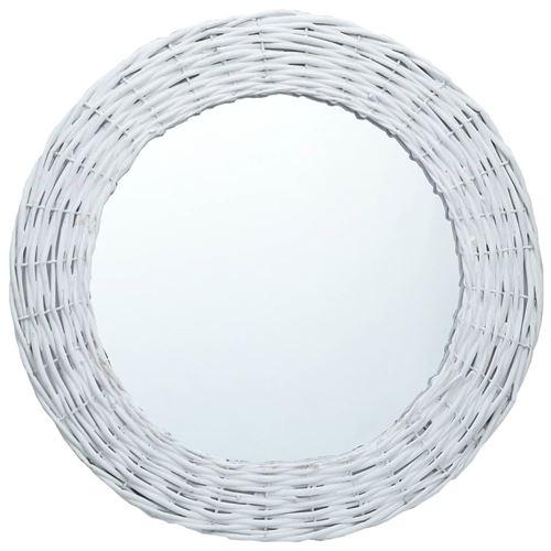 vidaXL Miroir Blanc 80 cm Osier