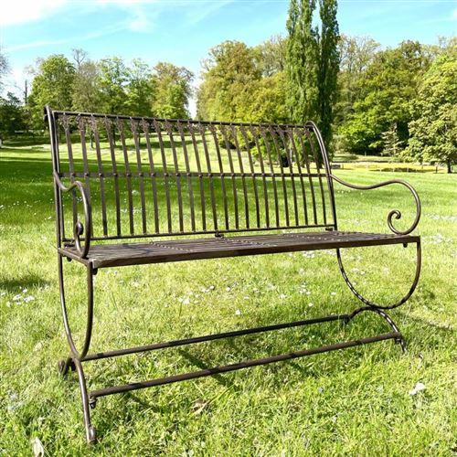L'Héritier Du Temps - Banc de jardin banquette en fer marron 2 places personnes fauteuil de jardin mobilier de qualité 55x84x103cm