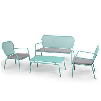 Salon bas de jardin 4 places en acier ajouré : 1 canapé 2 ...