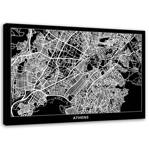 Tableau Image Art moderne Impression sur toile Canevas Athenes Carte Ville Abstraction 120x80