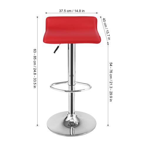 Langria Chaise Tabourets De Bar En Similicuir Hauteur Reglable Rotatif A 360 Degrees Bar Lot De 2 Rouge