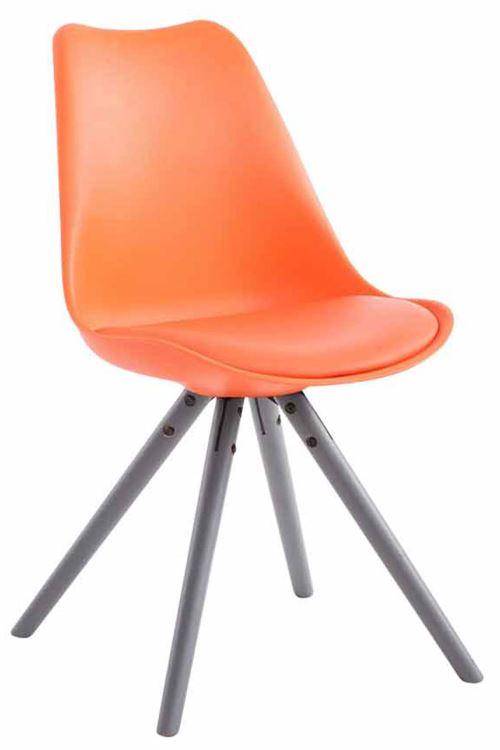 Chaise Toulouse similicuir piétement rond , Orange/Gris