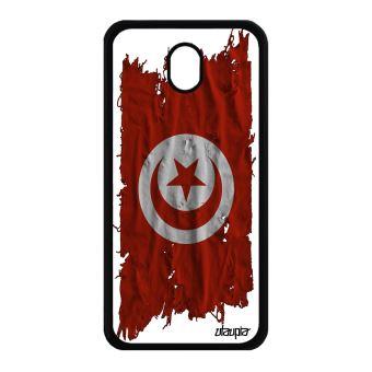Coque J7 2017 Pro Silicone Drapeau Tunisie Tunisien Tissu Foot De