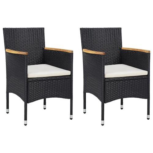 Chaises de salle à manger de jardin 2 pcs Noir