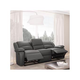 Canapé Relaxation Places Simili Cuir DETENTE Couleur Gris - Canapé 3 places simili cuir