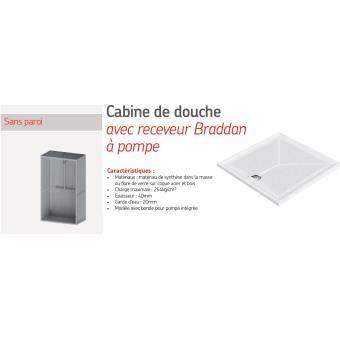 akw cabine de douche 700x1200mm avec receveur braddan pompe sans paroi accessibilit pmr. Black Bedroom Furniture Sets. Home Design Ideas