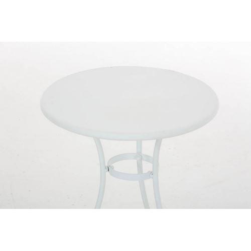 Table de jardin ronde en fer forgé diamètre Ø 40 cm blanc TAB10004 ...