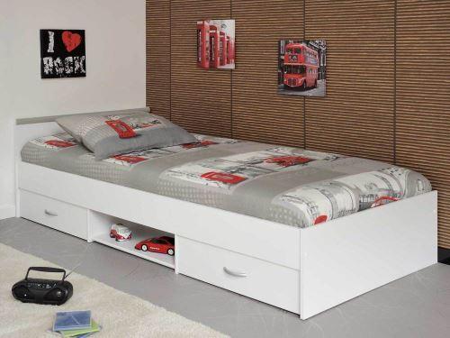 Lit avec 2 tiroirs + 1 niche de rangement 90x200cm TRIBAR - Blanc - Sans matelas et sommier