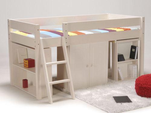 Lit combiné avec bureau et rangement couchage 90x190cm lino