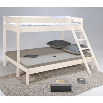 lits superpos s 90x190 cm 140x190 cm avec 2 sommiers lattes en bois manolo blanchi achat. Black Bedroom Furniture Sets. Home Design Ideas
