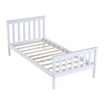 lit simple complet bois et contreplaqu blanc 90x190 achat prix fnac. Black Bedroom Furniture Sets. Home Design Ideas