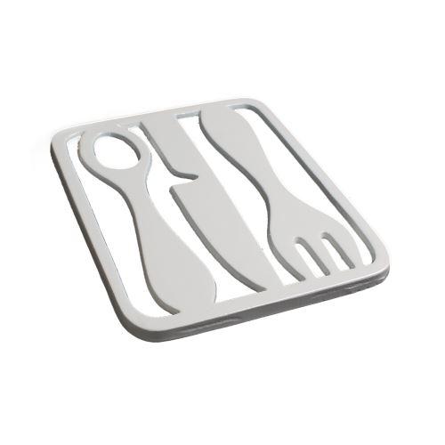 Dessous de plat métal blanc design couverts - Lot de 2