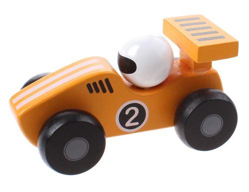 Jouéco voiture de course en bois 12 cm jaune
