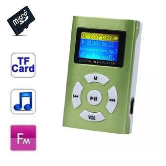 Lecteur MP3 8 Go - à carte mémoire - clip ceinture - Ecran LCD - Radio FM - Vert
