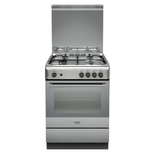 Hotpoint Ariston H6GGC1E (X) /FR - Cuisinière - pose libre - largeur : 60 cm - profondeur : 60 cm - hauteur : 85 cm - avec système auto-nettoyant - acier inoxydable
