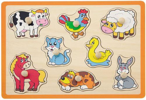 Jouéco puzzle forme animaux de la ferme 8 pièces orange