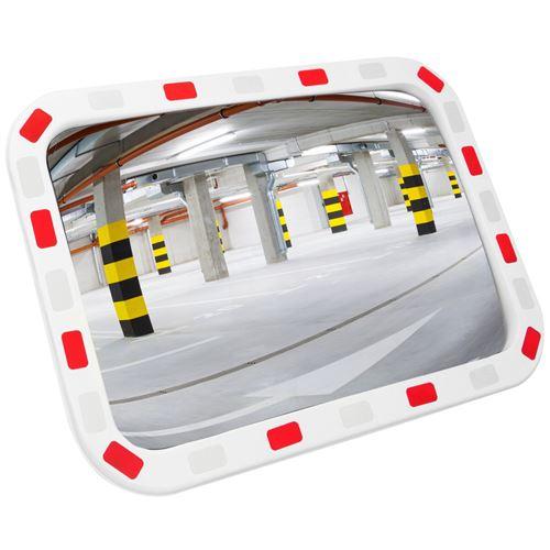 Miroir convexe de signalisation de sécurité de forme rectangulaire 80x60 cm avec cadre bicolore