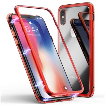 Coque pour Apple iPhone XR Coque Magnetique Rouge Verre Trempe Houe Etui 360 Integral Full Protection Metal Film Vitre Ecran Ultra Resistant Phonillico