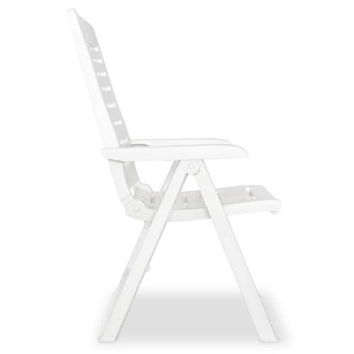 vidaXL 2 pcs Chaises inclinables de jardin Plastique Blanc