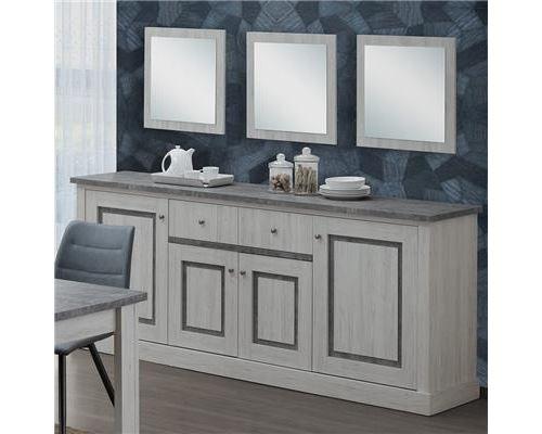 Buffet 220 cm couleur chêne clair et gris EMMETT