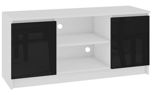 DUSK - Meuble bas TV contemporain salon/séjour 120x55x40 cm - 2 Blanc/Noir laqué