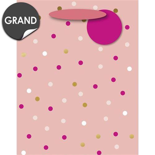 Draeger la carterie Sac Cadeau Grand format rose aux Pois roses et or Multicolore