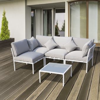 Ensemble salon de jardin design contemporain 4 places modulables 5 ...