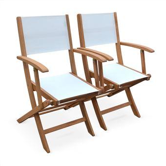 Fauteuils de jardin en bois et textilène - Almeria blanc Alice\'s ...