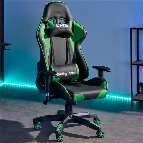 Chaise Synthétique Fauteuil Gamer Bureau Noirvert Gaming Avec ChairRevêtement Ergonomique CoussinsSiège Racer Racing Style De gyb67Yf