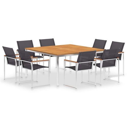 vidaXL Mobilier à dîner 9 pcs Textilène et acier inoxydable