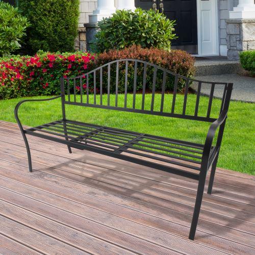 Banc de jardin design contemporain 2, 3 places tablette centrale rabattable  intégrée dim. 160L x 53l x 95H cm métal époxy noir