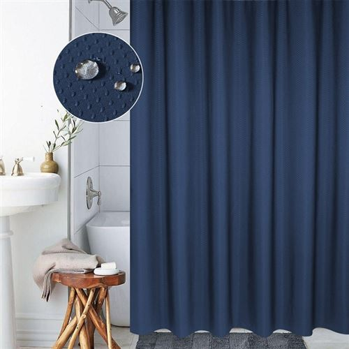Rideau De Douche Étanche 12 Anneaux 180 x 200 Cm Anti-Moisissure Polyester Bleu - YONIS